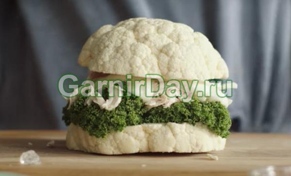 Бургер из отварной цветной капусты