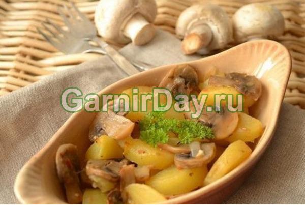 Картофель в рукаве с грибами по-вегетариански