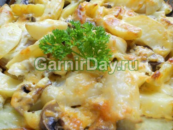 Картошка по-французски с яблоком и грибами